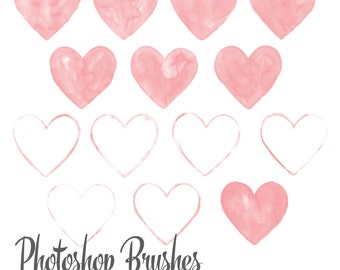 Watercolor Heart Photoshop Brush set, Valentine's Photoshop Brushes, Watercolor Brushes