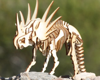 Styracosaurus (Triceratops) Wooden 3d puzzle, model, skeleton sculpture. Great educational gift for the dinosaur lover in your life!