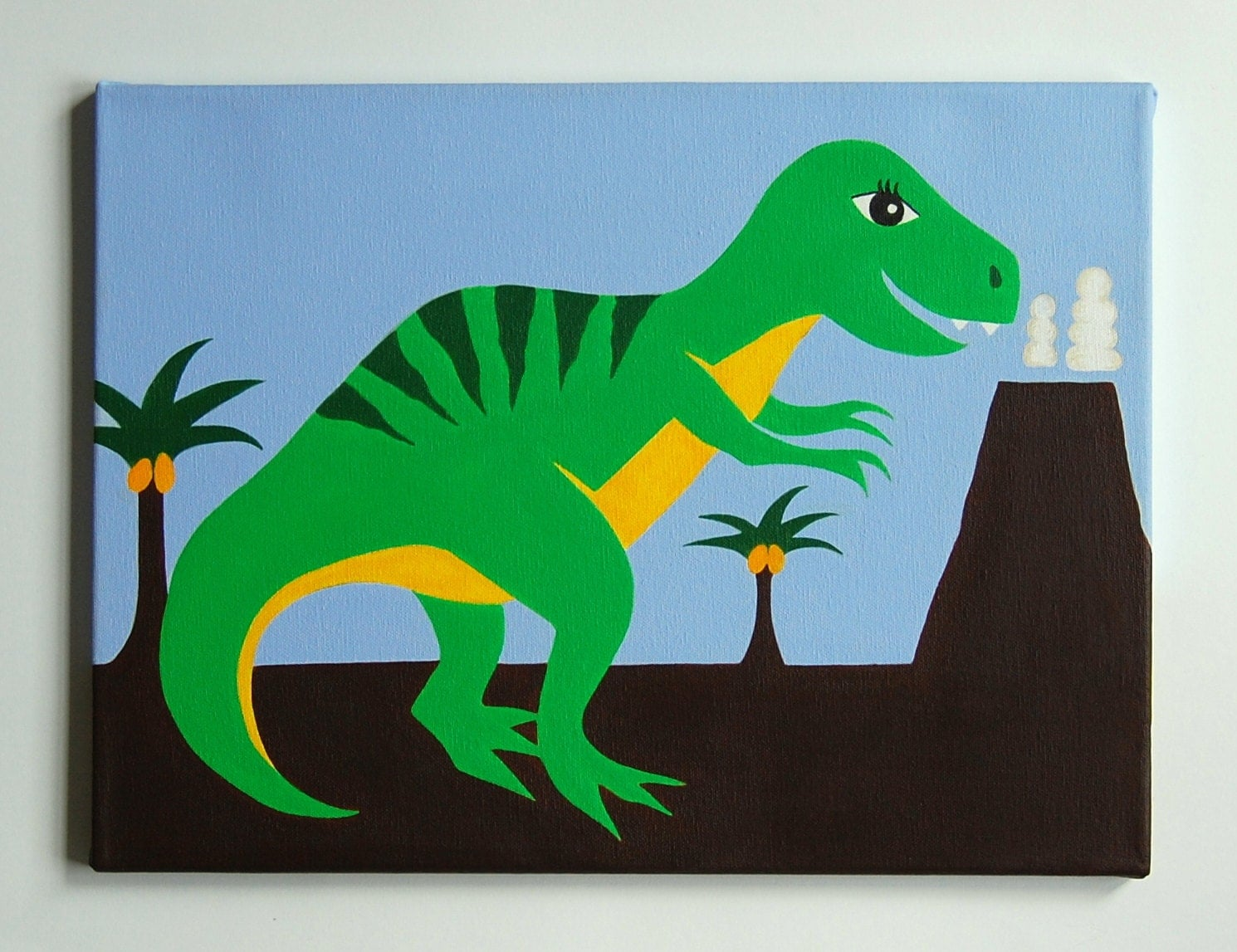 Dinosaur arts and crafts - Kids Dinosaur Art T Rex Painting Dinosaur Nursery Art T Rex