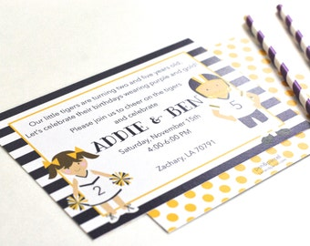 LSU Cheerleader/Football Player Tailgate Birthday Party Invitations-FREE SHIPPING or diy printable