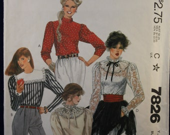 Sewing Pattern McCall's 7826 for a Teen Girl's Blouse for Age 13-14
