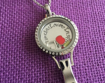 Lanyard Locket - Personalized Locket - Gift for Teacher - Teacher Appreciation - Teacher Lanyard - Teacher Locket - Custom Locket