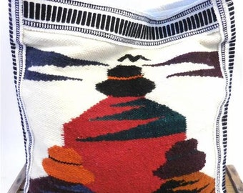 Vintage White Multicolored Wool Southwest Print Large Hobo Bag Shoulder Holdall Purse