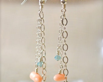 Puka shell coral drop earrings