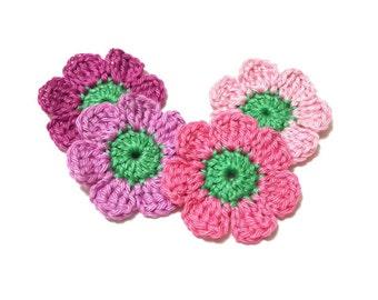 4 Crochet Applique Medium Flowers DIY Scrapbooking Sewing Art Craft Miniature Dollhouse Decor Doily Fairy Garden Flower Motifs Handmade