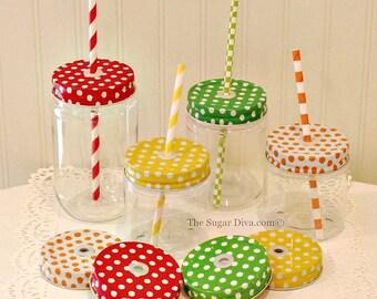 """Plastic Mason Jars, 10 Plastic Mason Jars with POLKA DOT Jar Lid & Straw Grommets, Mason Jars with Lids, Mason Jar Cups, """"Spill Proof"""" Lids"""