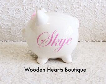 Light Pink Piggy Bank, Piggy Bank, Large Bank, Custom Made, Personalize Bank, Baby Girl Bank, Girl Bank, Pink Bank,