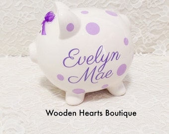 Personalized Piggy Bank, Piggy Bank, Girl Bank, Lavender Bank, Lilac Bank,  Purple Bank, First Birthday, Baby Shower Gift, Cute Bank