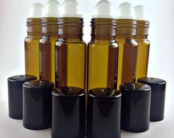 6 10ml Amber Roll on Bottles, Glass Rollerballs, Black Caps, New Roller Bottles for Essential Oils, Perfume Bottles, 10ml sz, 6 Bottle Lot