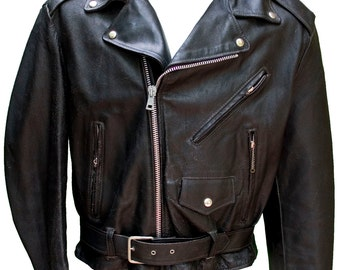 1950s Large Jacket Motorcycle Biker Leather Black Fetish Daddy BDSM Club Scene Gang Harley Davidson Grease Punk Metal Rocker American 44 Men