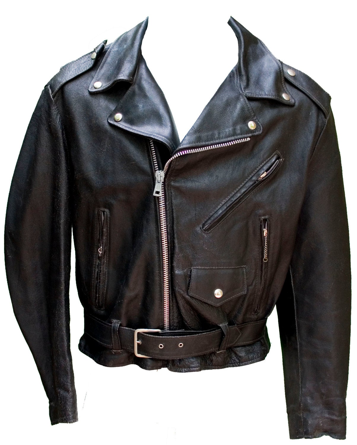 1950s Large Jacket Motorcycle Biker Leather Black Fetish Daddy