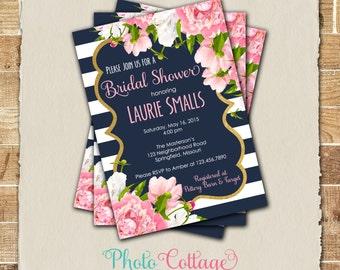 Bridal Shower Invitation, Pink Flower Invitation, Peony Invitations, Bridal Shower Invites, Pink, Navy & Gold Foil Invitation, BS223