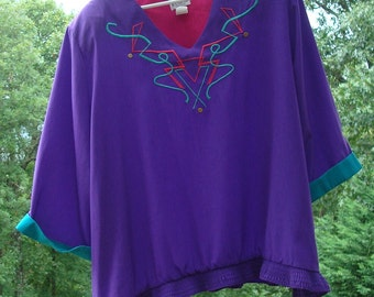 Vintage Regal Plus Size 3X Polyester Purple Hot Pink Turquoise V Neck Pullover Top Blouse