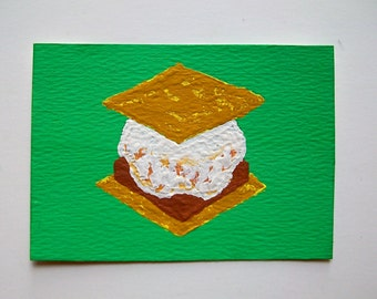 """Have S'more #83 (ARTIST TRADING CARDS) 2.5"""" x 3.5"""" by Mike Kraus"""