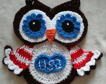 Crochet Patriotic Owl Pothoder Pattern Only