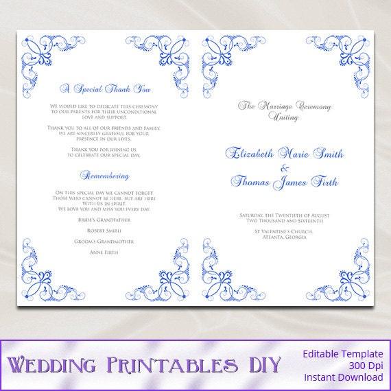 Royal Blue Wedding Program Template Diy Catholic Ceremony