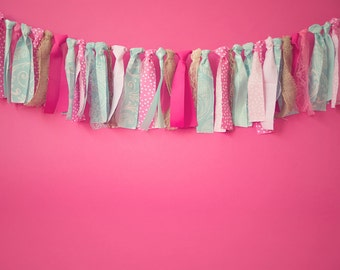 Pink and aqua rag banner. photo shoot. 1st birthday. baby shower. room decor.