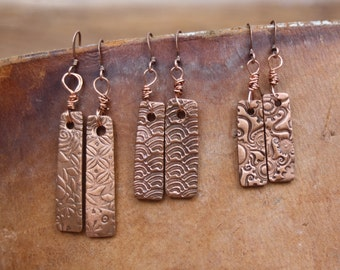 Rectangular Copper Earrings You Choose Size and Pattern