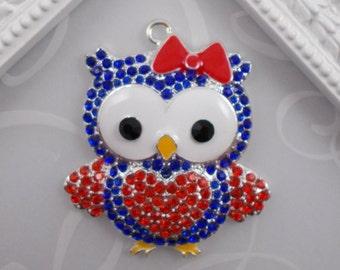 July 4th Rhinestone Pendant Patriotic Owl Pendant