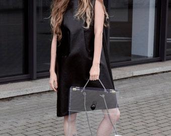 Dress- black dress- women dress- faux friendly leather dress- bell sleeveless dress