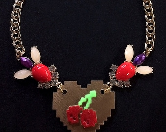 Pacman Pixelated Cherries Deluxe Statement Necklace