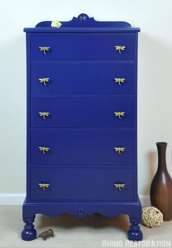 deep blue 5 drawer tall dresser with dragonfly drawer pulls. Black Bedroom Furniture Sets. Home Design Ideas