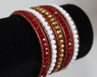 Leather 5-Wrap Bracelet, Red and Gold, Adjustable