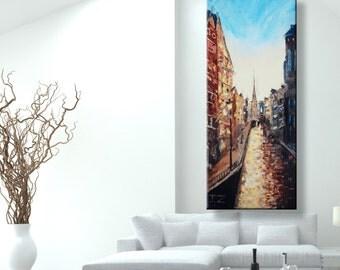 "oil painting, modern art, ""Amsterdam"", canvas art, paintings on canvas, wall art, painting, abstract painting, wall painting, art, canvas"