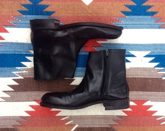 70s Leather Beatle Boots Steel Toe Motorcycle Boots |  US Mens 8 // Women's 10  |  By Hytest UNION made in the USA