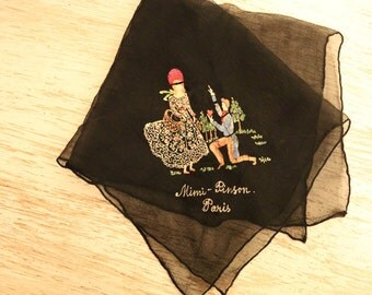Vintage Hankie by Mimi Pinson, Paris - WONDERFUL detail!