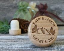 Wedding Wine Stopper Favors - Rustic Mountain Wedding Favors -  Custom Wine Bottle Stoppers w Your Monogram, Wedding Logo, or my design