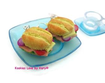 Charm free!! Tortas!! Traditional Mexican sandwich made earrings !! Miniature , polymer clay food dollhouse, kawaii, cute.