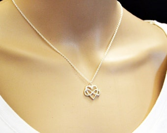 Infinity Heart Necklace, Silver Infinity Necklace,  Silver Heart Pendant, Silver Infinity Pendant Necklace Infinite Love