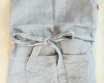 Linen apron - Natural grey linen full apron - Natural Baltic linen adjustable apron