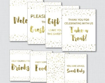 Printable White and Gold Baby Shower Table Signs - EIGHT Signs! Welcome Sign, Favors Sign, etc - Instant Download - Faux Gold Foil - 0022-W