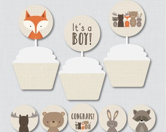 Woodland Baby Shower Cupcake Toppers and Cupcake Wrappers - It's a Boy, It's a Girl - Instant Download - Woodland Decorations - 0010