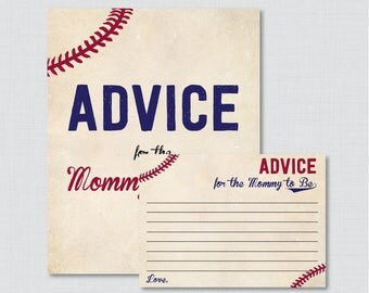 Baseball Advice for Mommy to Be Cards and Sign - Printable Vintage Baseball Baby Shower Advice for Mom, Advice for Parents to Be - 0027