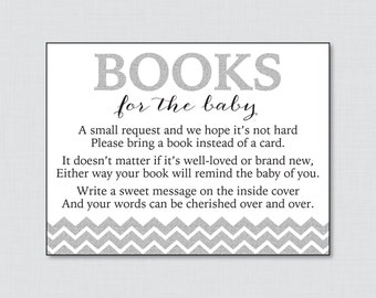 Printable Silver Glitter Baby Shower Bring A Book Instead Of A Card Inserts    Gray Baby