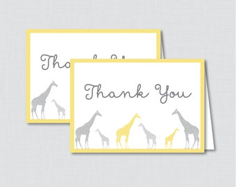 Printable Giraffe Thank You Card - Printable Instant Download - Yellow and Gray Giraffe Baby Shower Thank You Card - 0011-Y