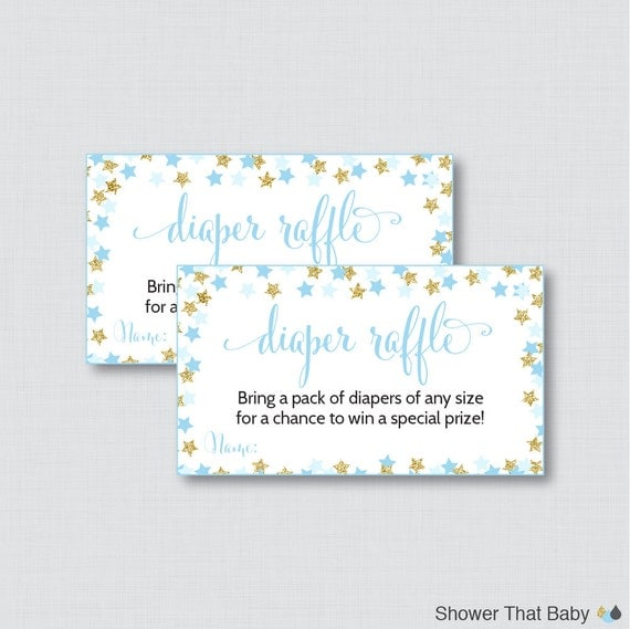 Star Baby Shower Diaper Raffle Tickets and Diaper Raffle Sign
