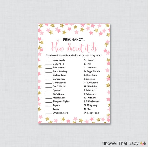 star baby shower pregnancy how sweet it is game printable instant