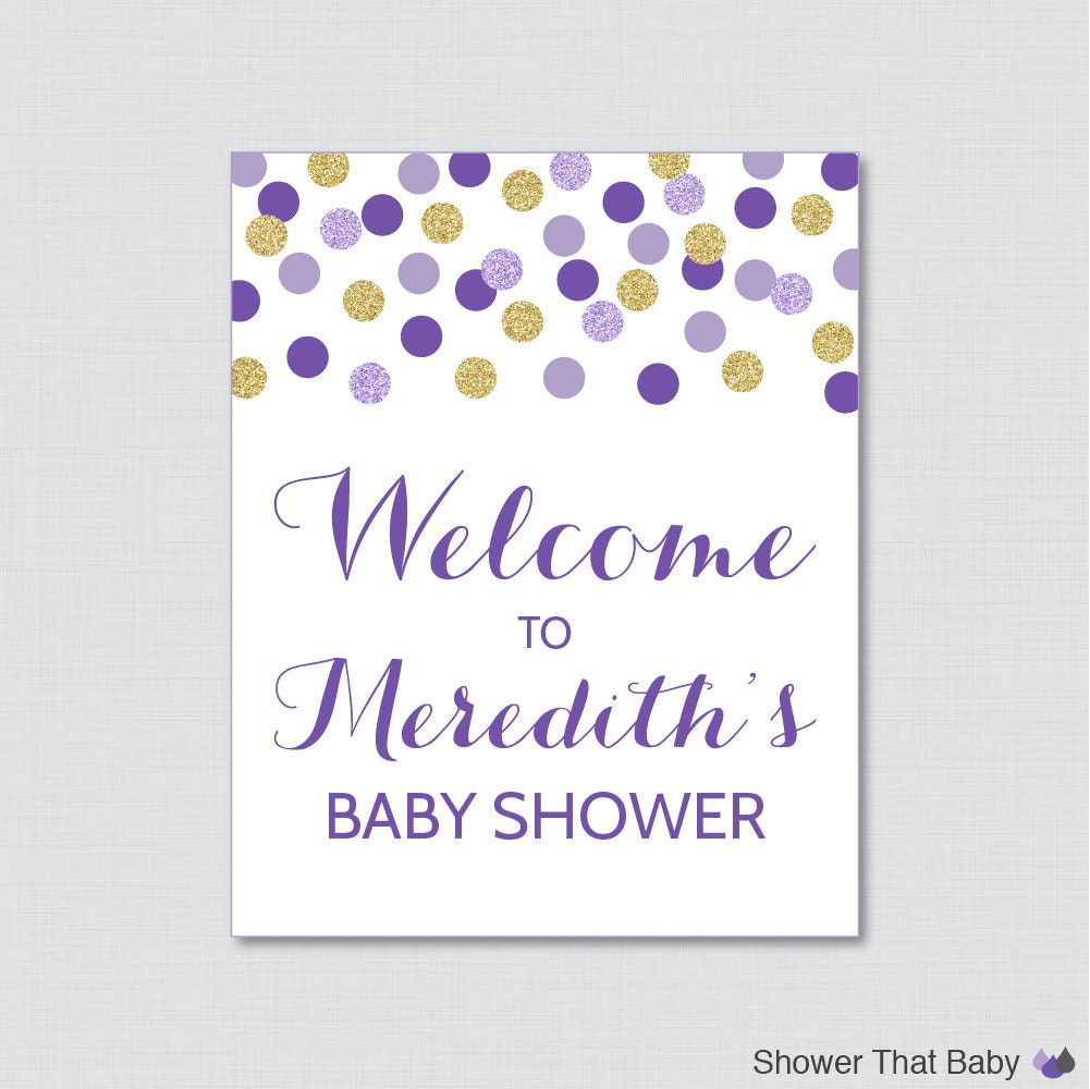 purple and gold baby shower welcome sign printable