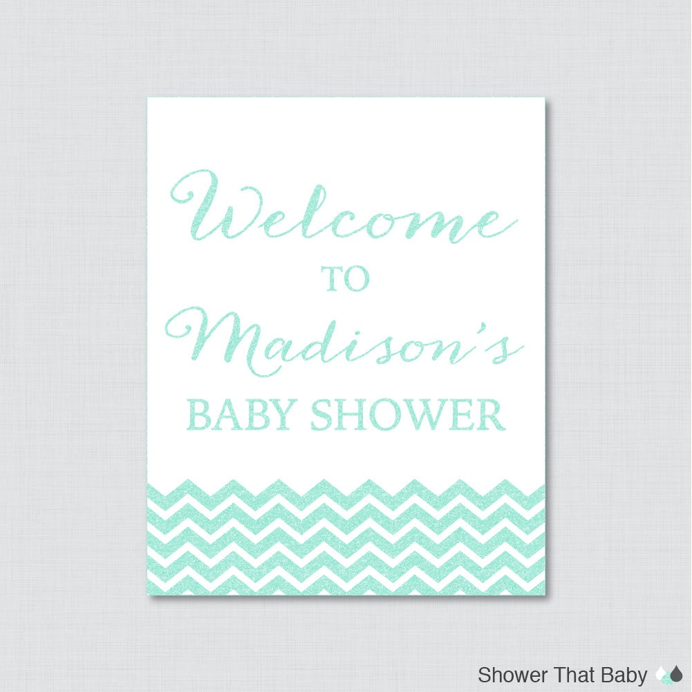 aqua baby shower welcome sign printable personalized shower