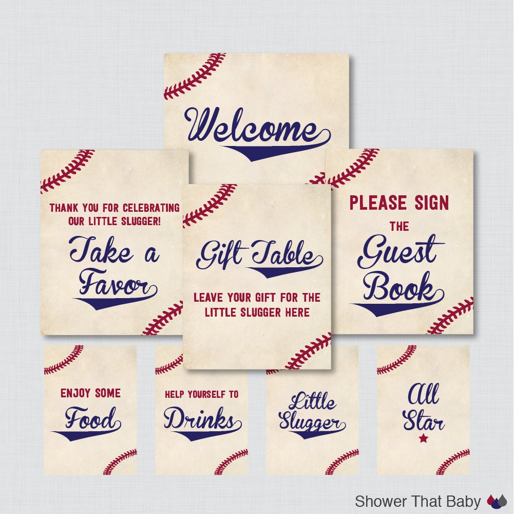 printable baseball baby shower table signs eight signs