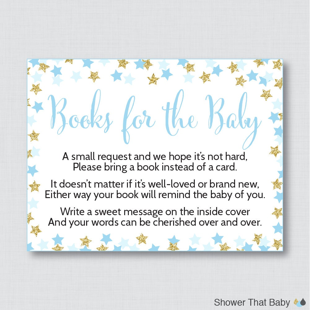 star baby shower printable bring a book instead of a card