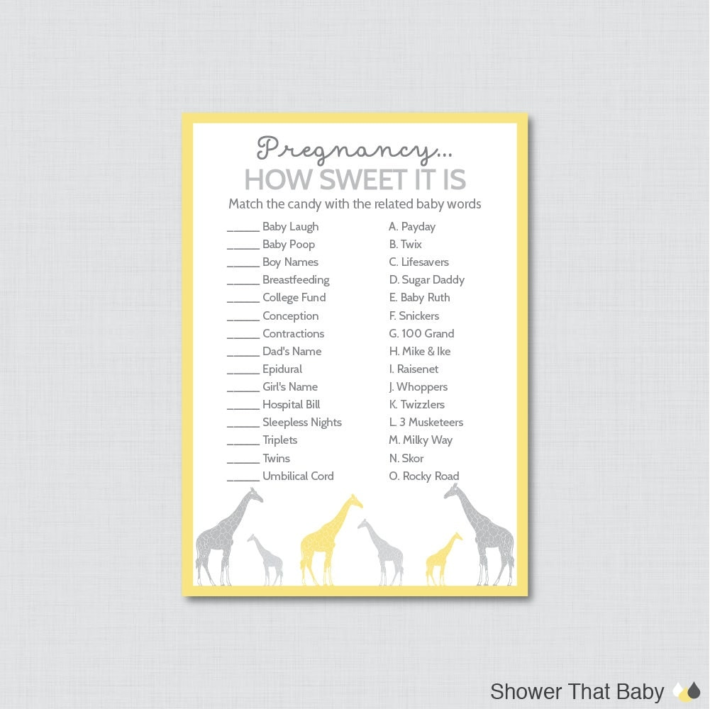 Sweet Sweet Baby Baby Shower Game: Giraffe Baby Shower Pregnancy How Sweet It Is Game In Yellow