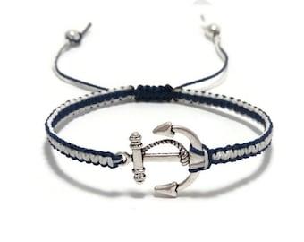 Anchor Bracelet, Macrame Bracelet, Nautical Bracelet, Navy Bracelet, Unisex Bracelet, Mens Anchor Bracelet, Gift for Her, Beach Bracelet