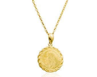 Gold necklace, coin jewelry, gold coin necklace, dainty necklace, gold disc, gold filled 14k