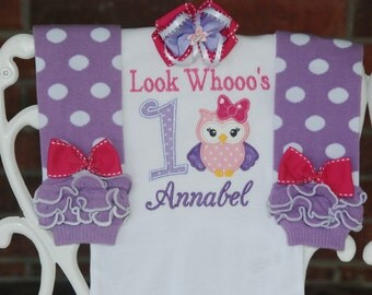 Baby Girl Owl First Birthday Outfit! First Birthday Outfit/Owl First Birthday Outfit! Owl leg warmer outfit/Owl birthday outfit/Purple Owl