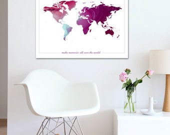 World Map Poster Printable Wall Art Illustration Graphic Design Print Poster Travel Maps Geography Gift Home Decor memories Instant Download